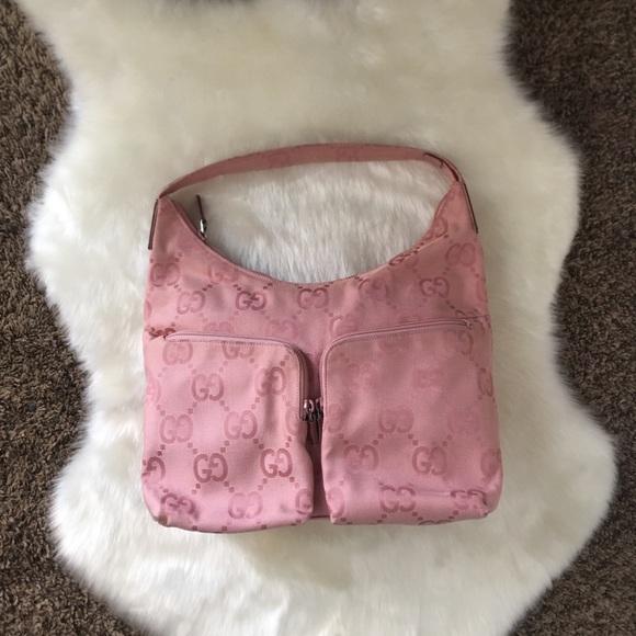 Gucci Handbags - Authentic Gucci Baby Pink Canvas Purse Bag
